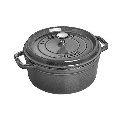 Staub Cocotte Single pan - Cacerola (Single pan, Gris grafito, hierro fundido, 3,8 L, 24 cm, 4,8 kg)