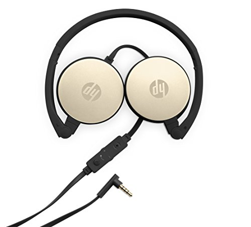 HP 2800 Silk Gold Headset with In Line Mic for Handsfree, Foldable