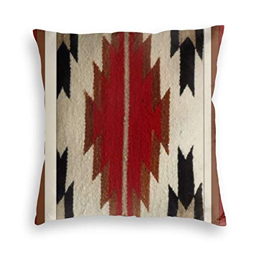 Feamo Tribal Native American Red Hue Print Velvet Soft Decorative Square Throw Pillow Covers Cushion Case Pillowcases for Sofa Chair Bedroom Car 18X18inch