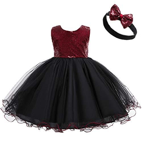 Keepwin para 1-6 Años Vestido de Fiesta Niña Encaje Tul Vestido Princesa Niña con Lazo Vestidos de Niña + Diadema Vestidos para Ninas para Boda Vestido Ceremonia Niña (Vino Rojo, 2-3 años)