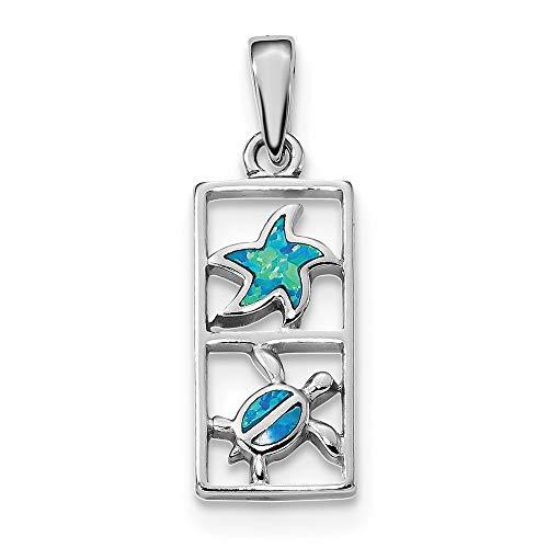 10,4mm Sterling Silber Rhodiniert Blau Simulierte Opal Seestern Schildkröte Anhänger