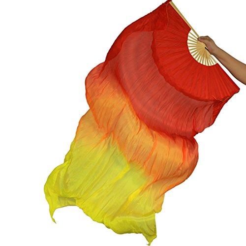 Calcifer Abanicos de seda de bambú de 180 cm, para danza del vientre, colores #02 (rojo+naranja+amarillo)