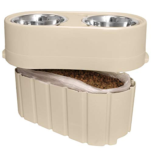 Store-N-Feed Adjustable Raised Dog Bowl, Dog Feeder & Dog Food Storage Containers-Large Version Adjusts from 8' to 12' (Dog Food Container, Unique Dog Water Bowl Dispenser and Dog Food Bowl)