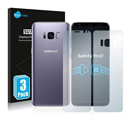 savvies 6-Pezzi Pellicola Protettiva Compatibile con Samsung Galaxy S8 (Anteriore + Posteriore) Protezione Schermo Trasparente