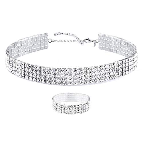 Zealmer 4 Row Fake Diamond Choker for Women White Gold Plated