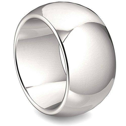 massiver Silber Ring - hochwertige Goldschmiedearbeit (Sterling Silber 925) 14 mm breit - Handschmeichler - schlichter schwerer Silberring - made in Germany - Damenring - Herrenring - Statementring
