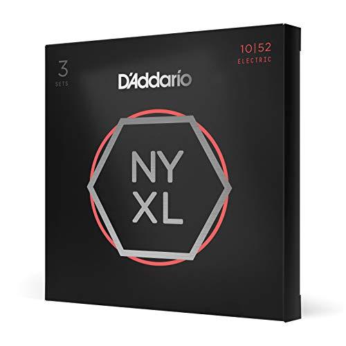 D'Addario NYXL1052-3P - Cuerdas para guitarra eléctrica (níquel, parte superior ligera/parte inferior pesada, 10-52, 3 juegos)