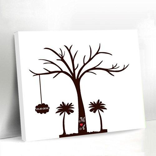 País playa Palm árbol de libro de invitados para boda árbol de huellas dactilares lienzo 40x 50personalizada nombre y fecha de boda regalos
