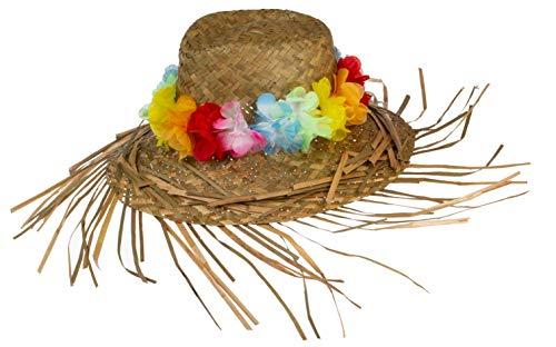 Brandsseller Origineller Strohhut Partyhut Hawaiihut Sonnenhut Karibik mit Blumenkette 32cm