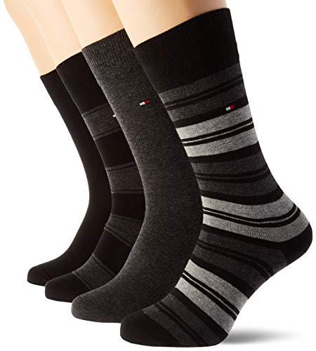 Tommy Hilfiger Th Men Sock 4p Stripe Tin Giftbox calcetines, negro, 39/42 (Pack de 4) para Hombre
