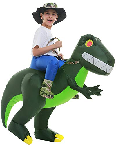 Inflatable Alien Dinosaur T-Rex Costume Halloween Blow up Costumes Adult Kids Cosplay(Army Green Child)