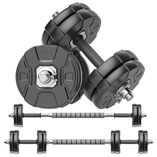 Product Image 1: RUNWE Adjustable Dumbbells Barbell Set of 2, 33 lbs Free Weight Set with Steel Connector Home Office Gym Fitness Workout Exercises for Men/Women/Beginner/Pro