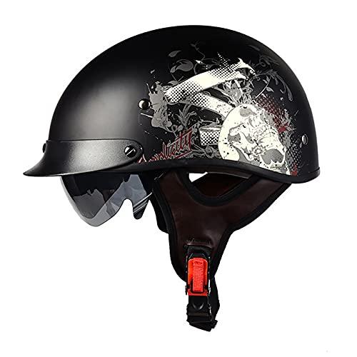 PRETAY Casco De Moto Medio Casco Casco De Cara Abierta Cerebro Cruiser Chopper Patineta Casco De Seguridad Ciclomotor Gafas Incorporadas De LiberacióN RáPida (Color : D, Size : XL(57~58cm))