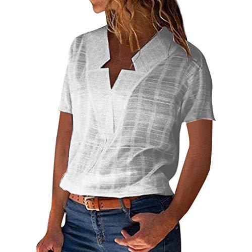 TWIFER Damen V Ausschnitt Aus Fester Baumwolle Leinen Kurzarm Casual T Shirts Bluse Top