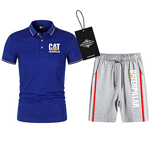 SPONYBORTY Polo Dos Piezas Camisas Camiseta Pantalones Cortos Manga Corta Cate.R-Pillar Impresión Parte Superior Hombres Y Mujer Algodón Casual Chandal Conjunto Sudadera Tee Niños / B5 / XXL
