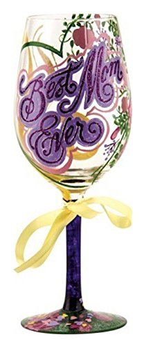 """Designs by Lolita """"Best Mom Ever"""" Hand-painted Artisan Wine Glass, 15 oz."""