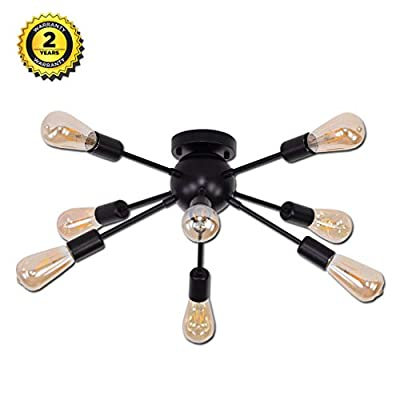 Sputnik Ceiling Light,E26 8 Bulbs,Black Metal Lighting, Industrial Mount Chandelier Fixture for Kitchen,Dining Room,Bedroom