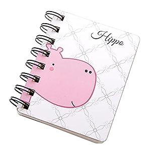Suneast Cuaderno de animales de dibujos animados, tarjetas de revisión de bloc de notas con anillo de carpeta Multicolor Mini blocs de notas - Hippo