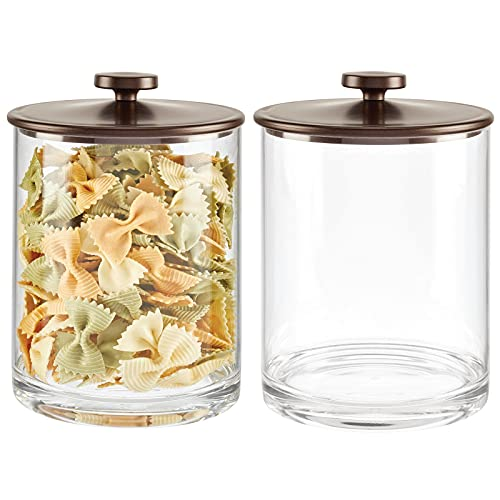 mDesign Modern Round Kitchen Countertop Storage Organizer Canister Jar for Sugar, Flour, Tea, Coffee, Spices, Candy, and Beans - Large, 2 Pack - Clear/Bronze