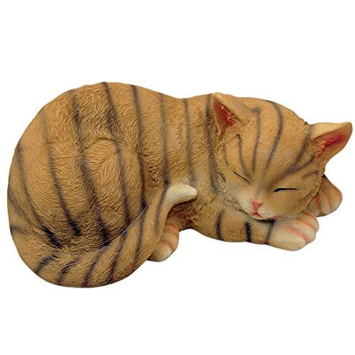 1PLUS, Statuetta da giardino a forma di gatto, in poliresina, dipinta a mano, in resina