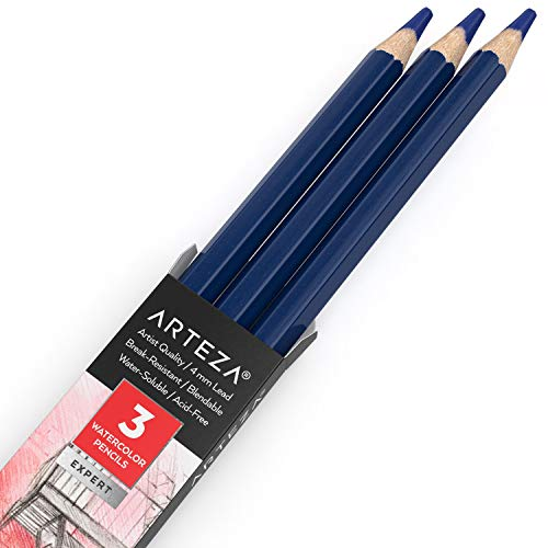Arteza Professional Watercolor Pencils, Pack of 3, A149 Onyx Black, Water-Soluble Pencils for Coloring, Blending, Layering & Watercolor Techniques