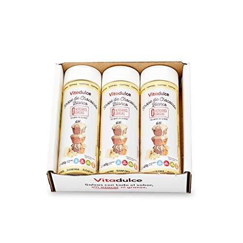 Sciroppo al cioccolato bianco senza zucchero, Topping al cioccolato, Sciroppo ipocalorico 400 gr. Set di 3 – Vitadulce.