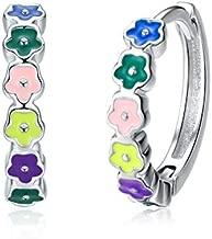 Small Hoop Earrings for Women Girls 925 Sterling Silver Hypoallergenic Colorful Flower Small Huggie Cartilage Earring CZ Hoops Cuff Endless Hoops for Sensitive Ears