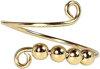 JAWSEU Spinner ring för kvinnor, stressavlastningsring, ångestringar med pärlor för kvinnor, mode öppen fingerring, juster...