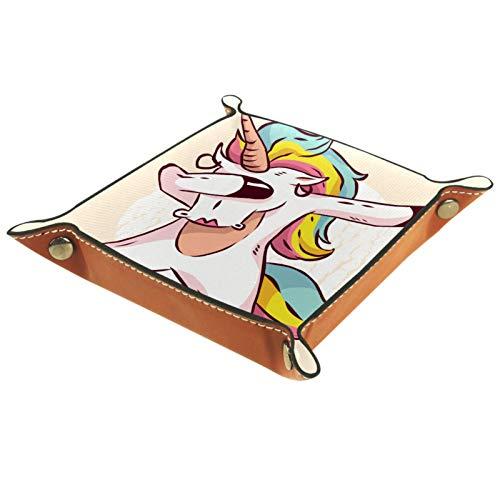 rodde Bandeja de Valet Cuero para Hombres - Chica Unicornio Dabbing - Caja de Almacenamiento Escritorio o Aparador Organizador,Captura para Llaves,Teléfono,Billetera,Moneda