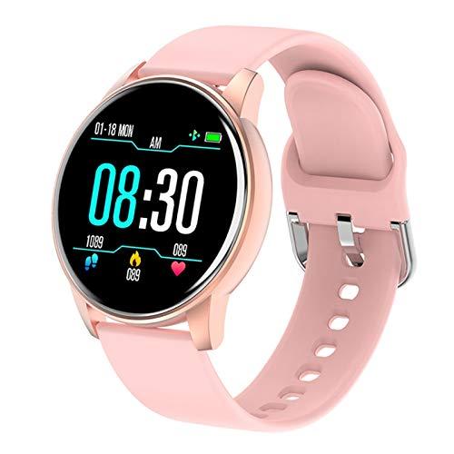 Women Smart Watch Pronóstico del Tiempo en Tiempo Real Actividad Tracker Tarifa cardíaca Monitor Sports Ladies Smart Watch Men para Android iOS (Color : Pink)