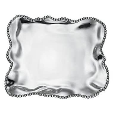 Lenox Organics Beaded Wave Large Square Tray, Silver