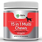 15 in 1 Multivitamin for Dogs with Glucosamine, Chondroitin, MSM, Probiotics - Joint and Immune Health, Anti-Inflammatory, Puppy Vitamins, Senior Dog Vitamins - 360 grams Approx. 90 Soft Chews