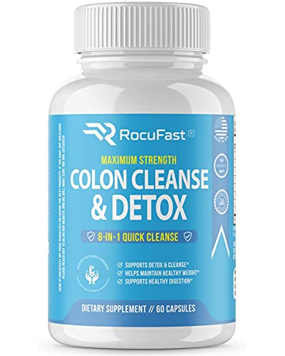 Rocufast Colon Cleanse and Detox 30 Day Quick Detox Colon Cleanser - Eliminate Toxins with Effective Total Detox Cleanse and Boost Energy with Our Colon Cleansing Gut Health Supplement 60ct