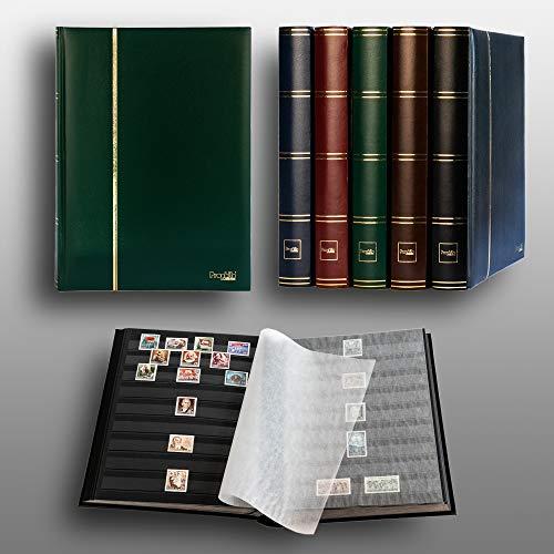 Prophila/Leuchtturm Classeur Album pour Timbres, 60 Pages, intérieur Noir (couv. Vert)