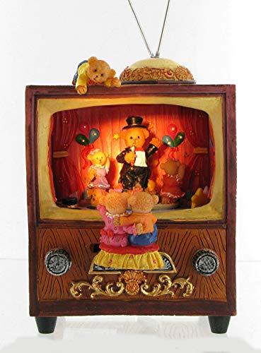 Lutèce Créations Boîte à Musique animée à Remontoir avec Ours/automate Musical avec Ours : Ours dans Un téléviseur en polystone (Réf: 14208) - Oh My Darling Clementine