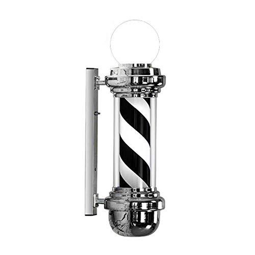 XCJJ Barber Pole Sign Wall-Mounted Led White Black Stripes Rotating Illuminating with Lamp Waterproof Light Hair Salon Shop,68cm