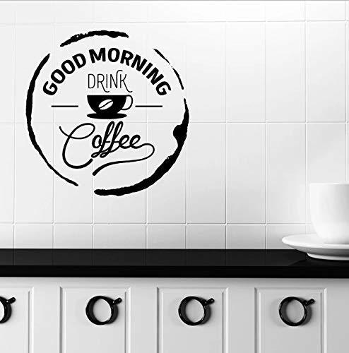 Goedemorgen Muur Sticker Woorden Citaten Drinken Koffie Vinyl Venster Sticker Cafe Restaurant Interieur Belettering Art Muurschildering 57X57 Cm