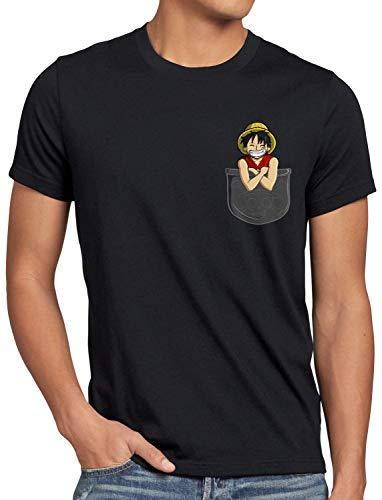 style3 Ruffy Bolsillo Camiseta para Hombre T-Shirt Piece Anime Japan One Pirat, Talla:M, Color:Negro
