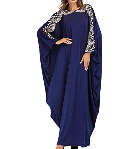 Qianliniuinc Women Muslim Maxi Dress Abaya - Lady Long Sleeve Maxi Dress Dubai Gown Jalabiya One Size Navy Blue