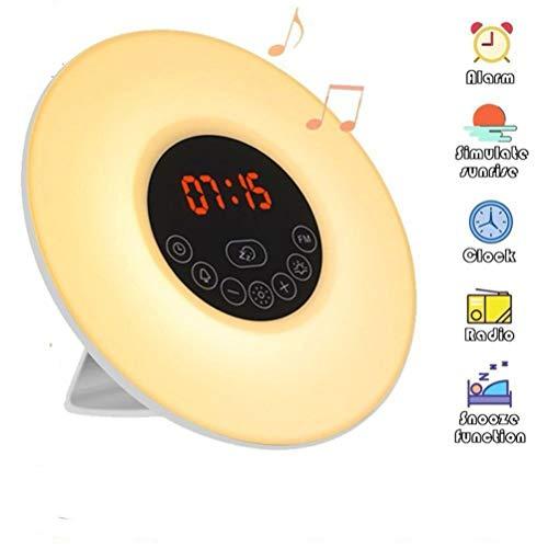 Tragbar Lichtwecker, omitium Wake Up Licht LED Wecker FM Radio Digitaluhr Licht mit 7 Farben Sounds 10 Dimmstufen und Snooze Funktion LED Nachtlicht Kinderwecker ideal für Schlafzimmer Unisex