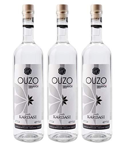 3x 0,7l Ouzo Tirnavou Kardasi 40% Vol. | Der einzige Ouzo ohne Zuckersirup | Mild im Geschmack, würzig im Abgang