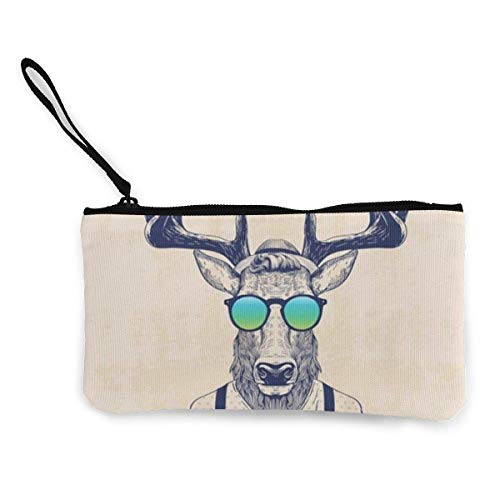 BHGYT Cool Deer Fashion Fun Animal Art Monedero de Lona, Bolso de Maquillaje, Bolso de teléfono móvil con asa, Bolso de Embrague de Billetera de Pulsera Unisex, 4.7 'X 8.7'