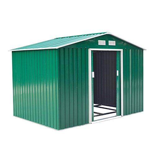 Outsunny Caseta de Jardín Tipo Cobertizo Metálico para Almacenamiento de Herramientas 277x191x192cm Verde Oscuro