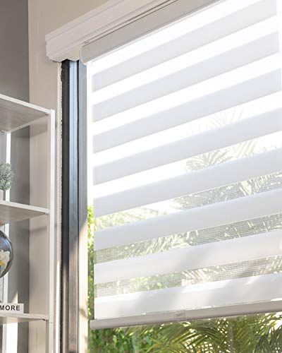 CHICOLOGY Everyday Cordless Zebra Shades, Light Filtering Dual Layer Window Blind Treatment Best for Kids & Perfect for Living Room/Bedroom/Kitchen and More, 35' W X 72' H, Basic Arctic