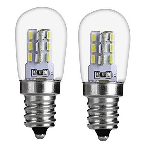 Dough.Q Bombilla LED E12 de 2 W, para frigoríficos, 2 unidades, CA 220-240 V, repuesto para bombilla halógena de 40 W, bajo calor para frigorífico/máquina de coser