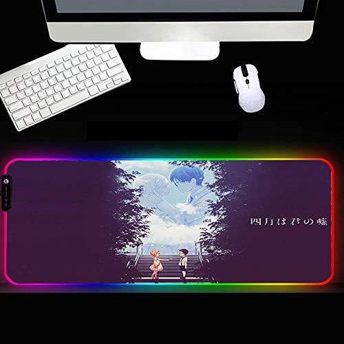 XIAOYANG Alfombrilla de goma RGB para ratón, accesorios para gamer, alfombrilla de ratón, grande, LED, XXL, con retroiluminación para ordenador portátil, 300 x 400 x 4 mm