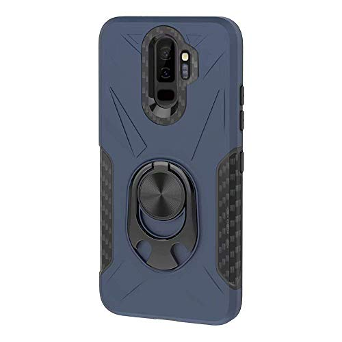 Lantier Multifunction Armor Case with 360 Metal Ring Holder Kickstand Bottle Opener Fits Magnetic Car Mount Shock Absorbing Protective Case for Samsung Galaxy S9 Plus Blue