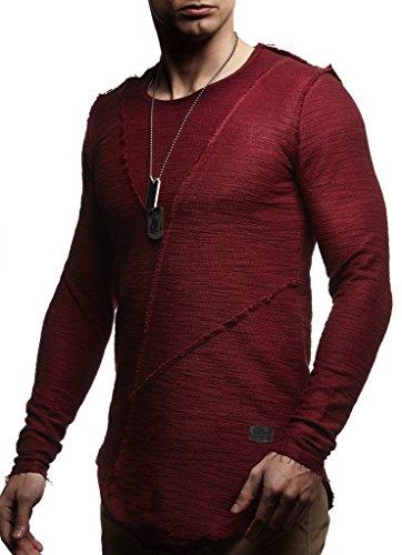 Leif Nelson Herren Oversize Pullover Sweatshirt Hoodie Longsleeve Rundhals Ausschnitt Kapuzenpullover Hoody Sweatjacke Pulli LN6323; Größe L, Bordeaux