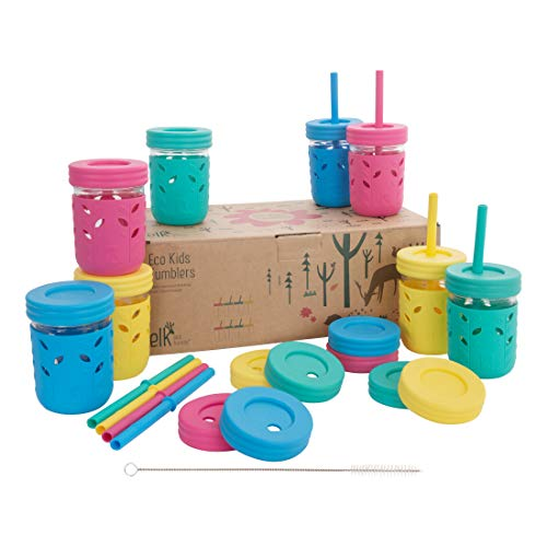 Elk and Friends Kids & Toddler Cups   The Original Glass Mason jars 8 oz with Silicone Sleeves & Silicone Straws with Stoppers   Smoothie Cups   Spill Proof Sippy Cups for Toddlers