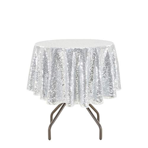 PartyDelight Sequin Tablecloth, Christmas Tree Skirt, Round, 48